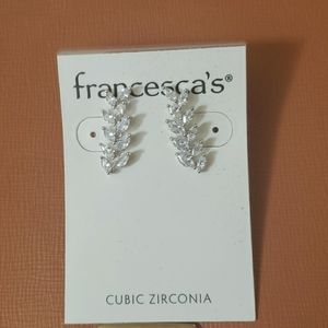 NWT Francescas cubic zirconia leaf drop earrings